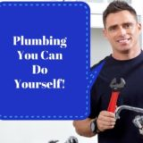 """Smiling plumber with tools. """"Plumbing you can do yourself!"""""""