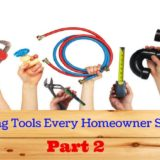 """Series of hands triumphantly holding up tools over a wooden barrier. """"The Plumbing Tools Every Homeowner Should Have Part 2"""""""