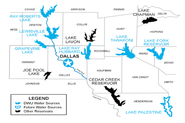 Map of the seven sources of Dallas, Texas water supply.. The seven sources are large nearby lakes.