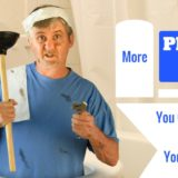 """confused looking man covered in grease holding plunger and other tools. """"More plumbing jobs you can learn to do yourself."""""""