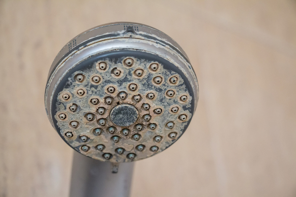 showerhead damaged by hard shower water