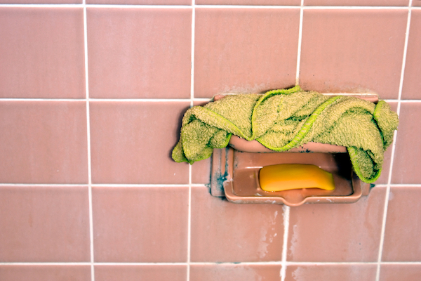 Bar soap in shower. Soap scum visible on shower walls.