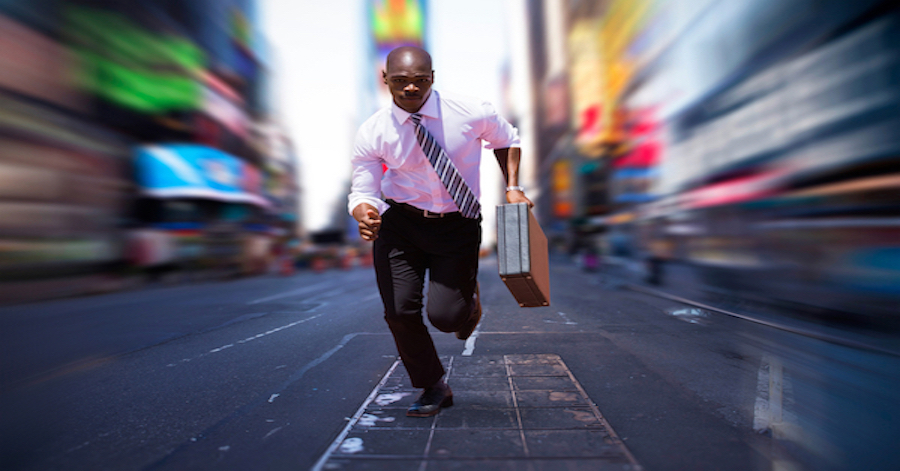 Business man who has got to go fast