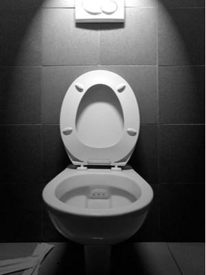 An open toilet under a spotlight.