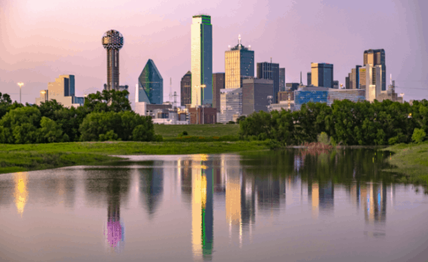 View of Dallas skyline from across the water