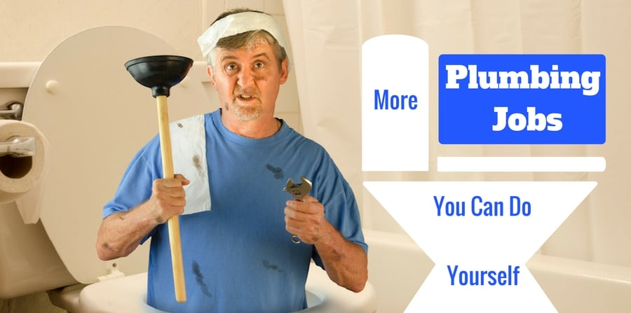 "confused looking man covered in grease holding plunger and other tools. ""More plumbing jobs you can learn to do yourself."""