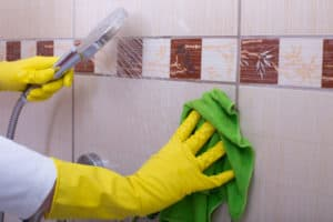 cleaning shower wall