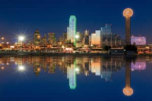 View of Dallas from the water of the Trinity River at night
