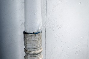 A home pipe leaking at a joint
