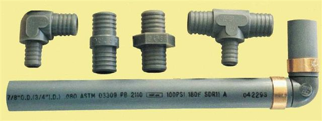 Examples of polybutylene pipes and fittings.